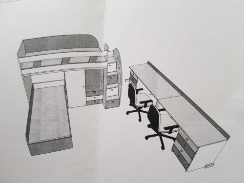 Dviaukštė lova,spinta,rašomieji stalai